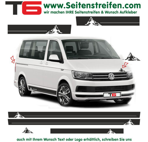 VW T6 Matterhorn Motiv Edition - side stripe sticker decal complete set- N° 7160