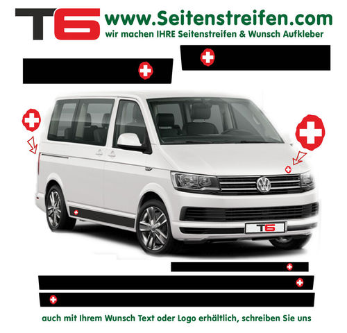 VW T6 Swiss Edition red white - side stripe sticker decal complete set- N° 7361