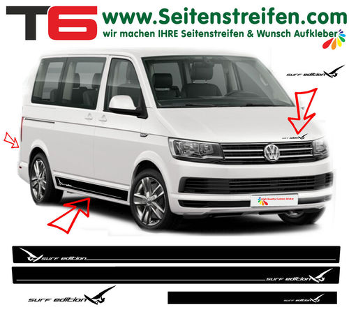 VW T6 Surf Sport Edition - side stripe sticker decal complete set- N° 6929