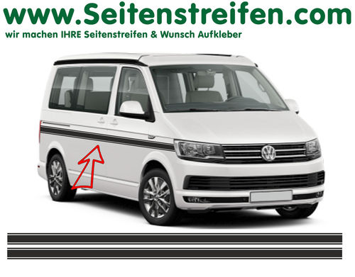 VW BUS T6 Custom - side stripe sticker decal complete set- N° 6684