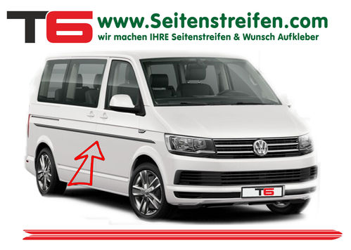VW BUS T6 Double Custom - side stripe sticker decal complete set- N° 7194