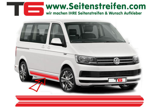 VW BUS T6 Double Custom - side stripe sticker decal complete set- N° 7156