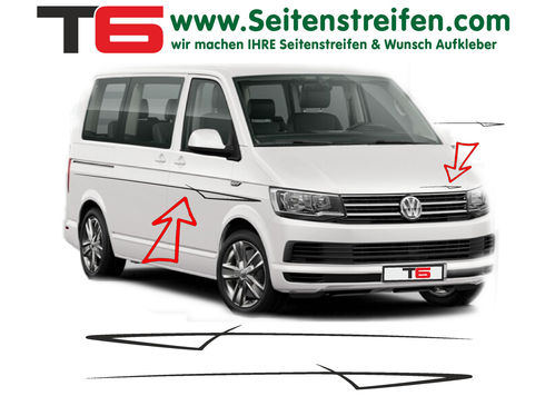 VW T6 Lounge - side stripe sticker decal complete set- N° 7157