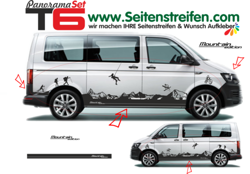 VW T6 Matterhorn Mountain Panorama Outdoor - side stripe sticker decal complete set- N° 5903