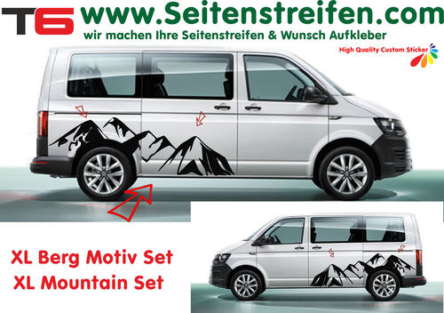 VW T6 XL Mountain Panorama - side stripe sticker decal complete set edition look - N° 7173