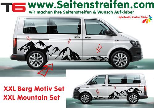VW T6 XXL Mountain Panorama - side stripe sticker decal complete set edition look - N° 7172