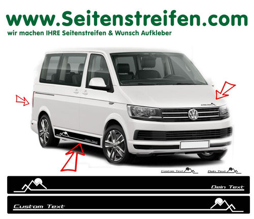 "VW T6 Sun Mountain Walking ""Own Text/Logo"" - side stripe sticker decal complete set- N° 7112"