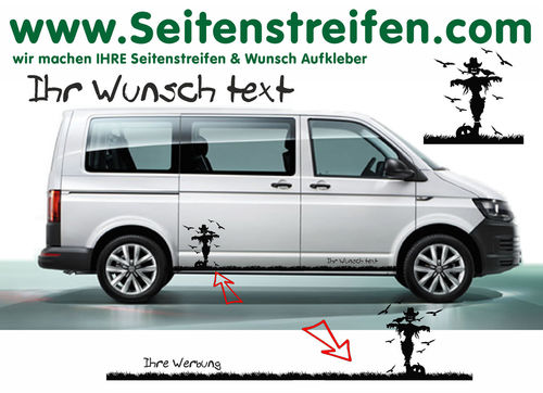 "VW T6 Halloween Witch Pumpkin Crow ""Own Text/Logo"" - side stripe sticker decal complete set- N° 7849"