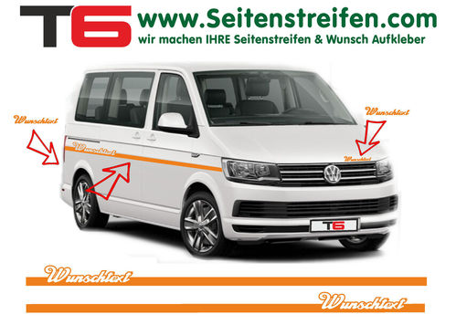 "VW T6 Elegant Custom ""Own Text/Logo"" - side stripe sticker decal complete set- N° 7158"