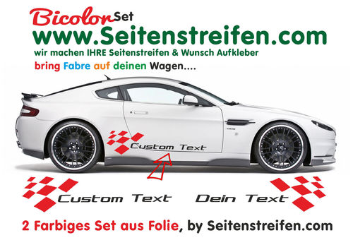 2x Sidestripes Universal Custom Text Bicolor - side stripe sticker decal complete set - N° 0659