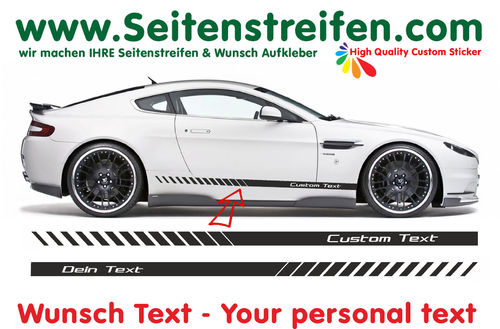 "2x EVOLUTION ""Custom Text"" - side stripe sticker decal complete set - 200cm X 10cm - N° 0158"