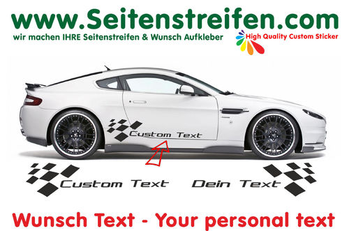 "2x Universal ""Custom Text"" - side stripe sticker decal complete set - ca. 30cm high - N° 0159"