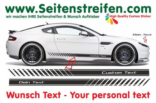 "2x EVO ""Custom Text"" - side stripe sticker decal complete set - 185cm x 10cm - N° 0165"