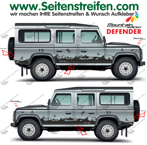 Land Rover Defender Matterhorn Panorama Outdoor - side stripe sticker decal complete set - N° 8011