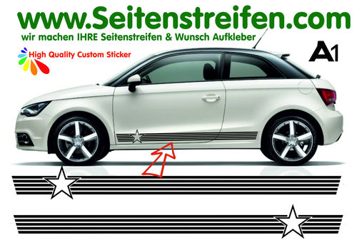 Audi A1 Star - side stripe sticker decal complete set - N° 5169