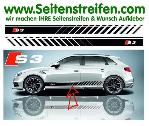 Audi S3 Evo Look - side stripe sticker decal complete set - N° 5167