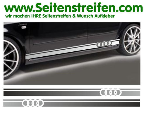 Audi A3 Logo - side stripe sticker decal complete set - N° 5165