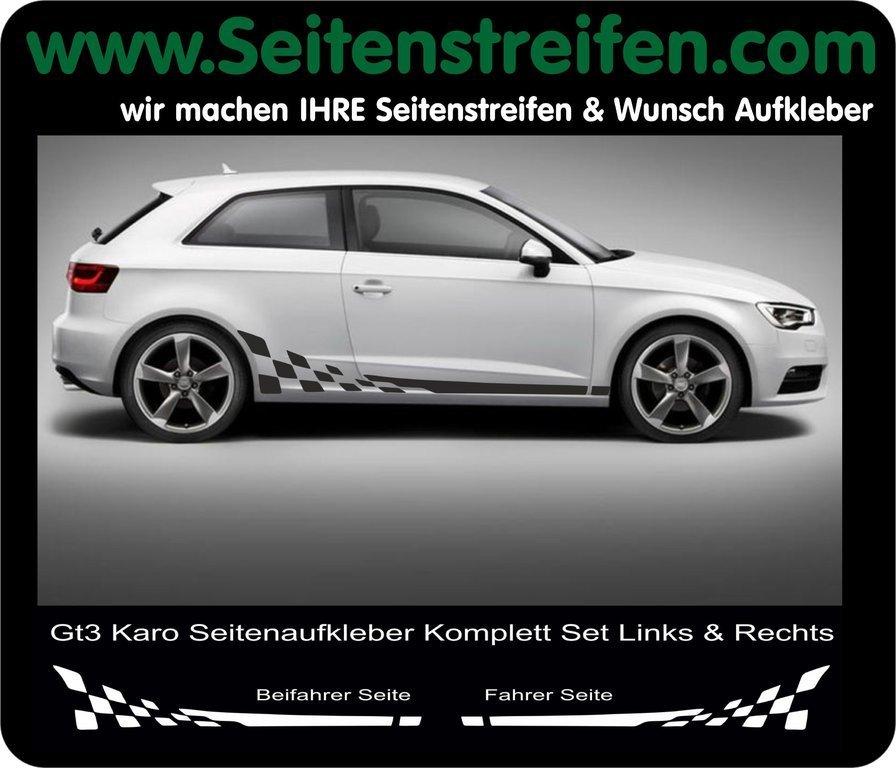 Audi A3 Checker Seitenstreifen Aufkleber Dekor Set Art Nr 5234