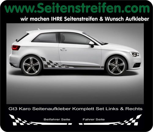 Audi A3 Checker - side stripe sticker decal complete set - N° 5234