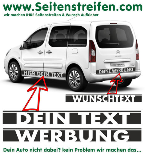 "Citroën Berlingo ""Custom Text"" - side stripe sticker decal complete set - N° 7253"