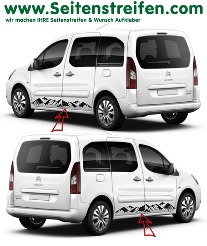 Citroen Berlingo Mountain Panorama - side stripe sticker decal complete set - N° 7255