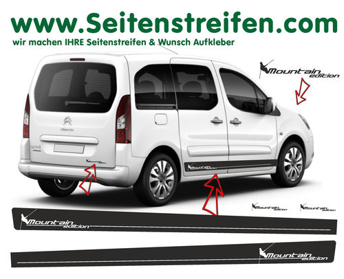 Citroen Berlingo Mountain Edition - side stripe sticker decal complete set - N° 7257