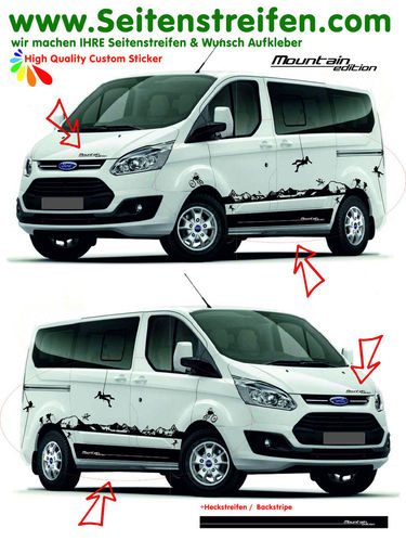Ford Transit Custom Matterhorn Outdoor Sport - side stripe sticker decal complete set  - N° 1160