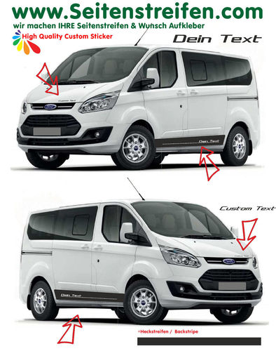 "Ford Transit Custom ""Custom Text/ Logo"" - set de pegatinas laterales set completo - N° 1163"