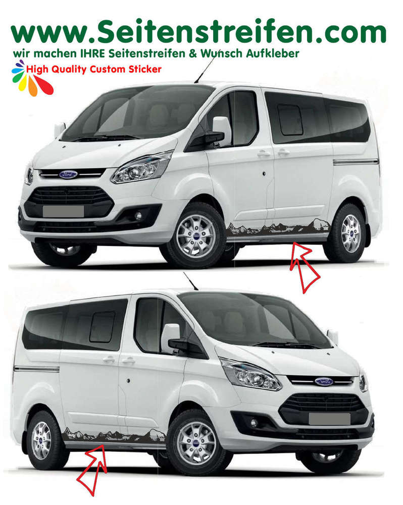 Ford transit custom matterhorn outdoor side stripe sticker decal complete set n 1165