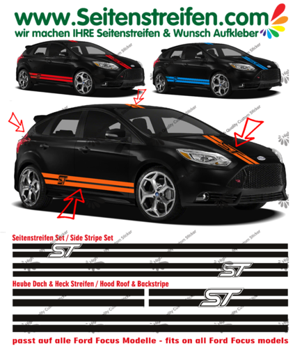 Ford Focus ST - side stripe sticker decal complete set  - N° 1061