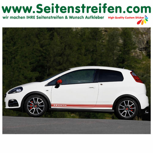Fiat Punto + Grande Punto Abarth - side stripe sticker decal complete set - N° 2014