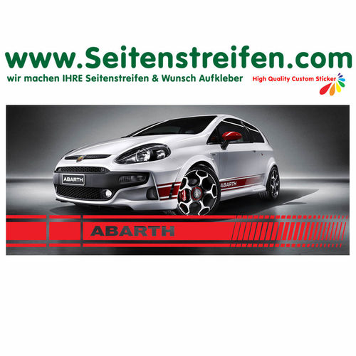 Fiat Punto + Grande Punto ABARTH XL EVO - side stripe sticker decal complete set - N° 2615