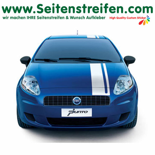 Fiat Punto + Grande Punto Roof + Front Rally Look - side stripe sticker decal complete set - N° 2333