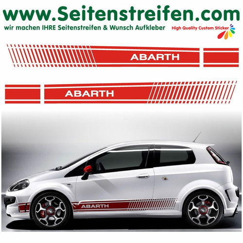 Fiat Punto + Grande Punto ABARTH XL EVO - side stripe sticker decal complete set - N° 2322