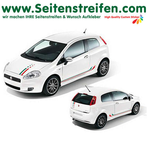 Fiat Punto + Grande Punto Italia Set + Front - side stripe sticker decal complete set - N° 2331