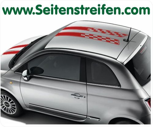Fiat 500 Checker Exclusive Roof and Front - bil klistremerker set - N° 9031
