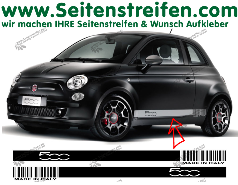 Fiat 500 Barcode Made In Italy Side Stripe Sticker Decal Complete Set N 1483