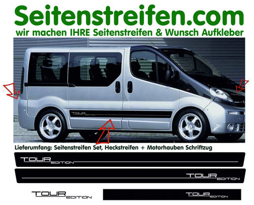 Vauxhall Vivaro Tour Edition  - side stripe sticker decal  complete set edition look - N° 8566