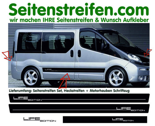 Vauxhall Vivaro Life Edition - side stripe sticker decal  complete set edition look - N° 8567