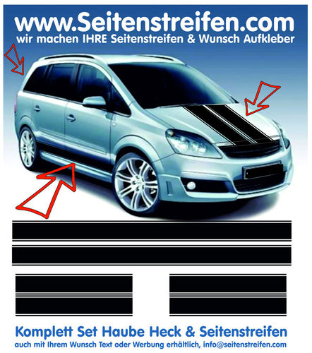Vauxhall Zafira  XXL - side stripe sticker decal  complete set edition look - N° 1568