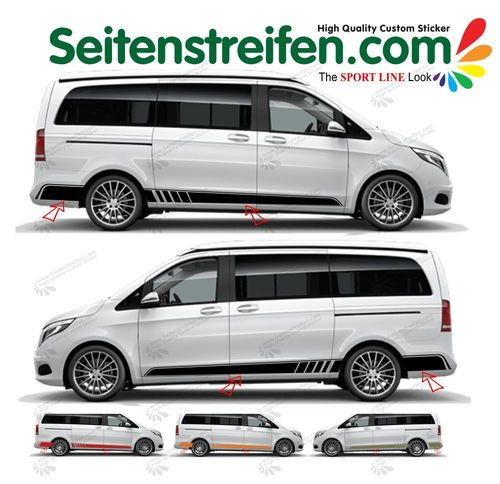 Mercedes Benz Classe V - Vito Sport Line side stripe sticker decal  complete set - N° 8848