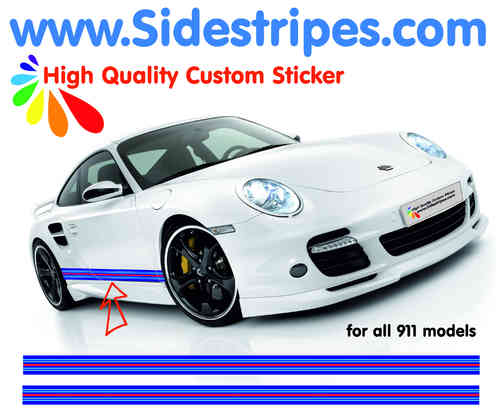 Martini Racing side stripe decal Sticker Set for all PORSCHE 911 Models Art.N°: 6005