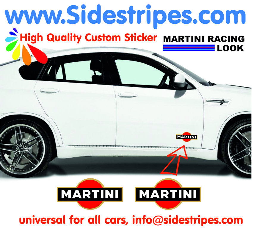 2 Martini Racing Logo - Autocollants - Logo est 10 cm Longue - N° 8001
