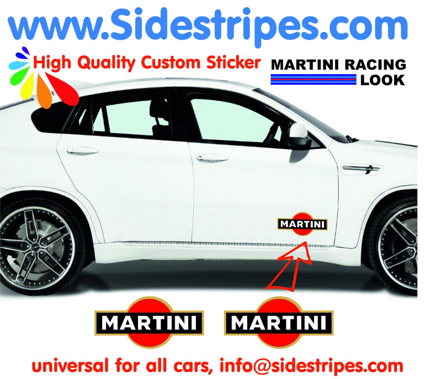 2 Martini Racing Logo - Autocollants - Logo est 20 cm Longue - N° 8003