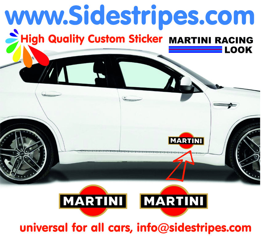 2 Martini Racing Logo - Autocollants - Logo est 25 cm Longue - N° 8004