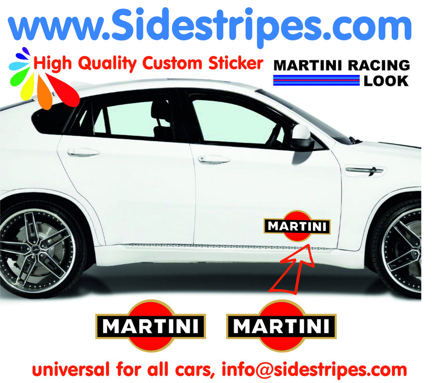 2 Martini Racing Logo - Autocollants - Logo est 30 cm Longue - N°  8005