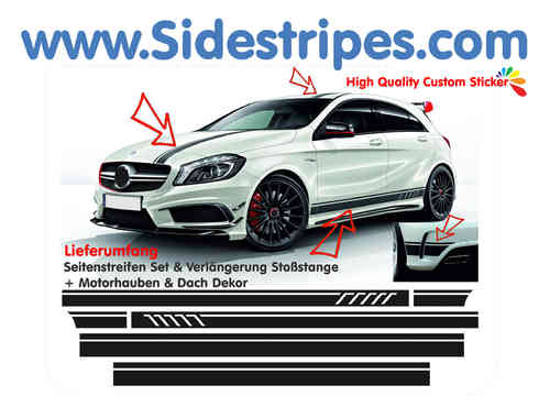 Mercedes Benz edition 1 - side stripe sticker decal replika complete set for A class AMG - N° 6000