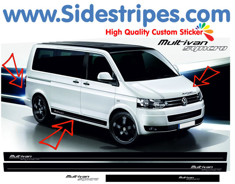 VW Bus T4 T5 Multivan Syncro - Side Stripes Graphics Decals Sticker Kit - N° 9013