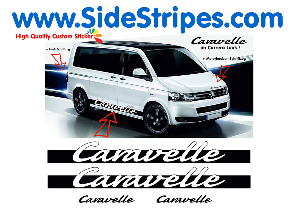 VW Bus T4 T5 Caravelle Carrera Look side stripe sticker decal complete set  - N° 1118