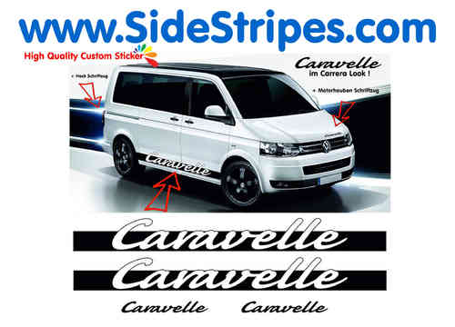 VW Bus T4 T5 Caravelle Carrera Look set de pegatinas laterales set completo - N° 1118